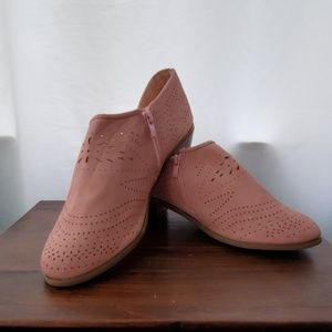 Pink Faux Suede Cut Out Booties  size 41 / 10